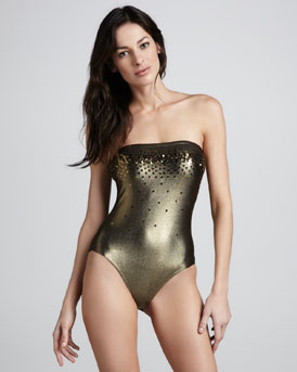 Marie France Van Damme Strapless Sequined One-Piece Swimsuit