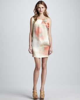 Elizabeth and James Leah Watercolor Shift Dress, Sunrise