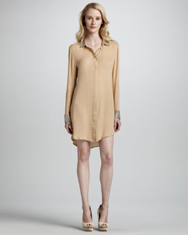 Haute Hippie Bead-Embellished Shirt Dress