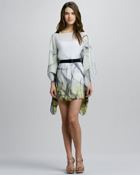 Milly Marissa Printed Belted Caftan Dress
