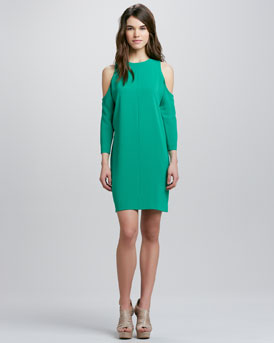 Tibi Cold-Shoulder Shift Dress