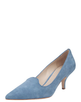 Elizabeth and James Clark Pointed-Toe Suede Smoking-Slipper Pump, Soft Blue