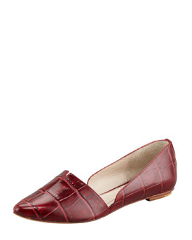 Elizabeth and James Merri Croc-Embossed d'Orsay Flat, Red