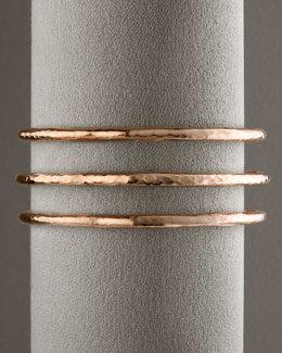 Ippolita Rose Skinny Hammered Bangle & Hammered Pave Bangle