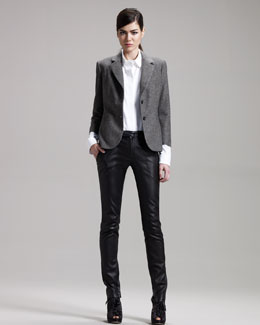 THE ROW Shrunken Tweed Jacket, Stretch-Cotton Shirt & Leather Zip Leggings