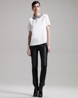 THE ROW Perch-Collar Silk Blouse & Leather Zip Leggings