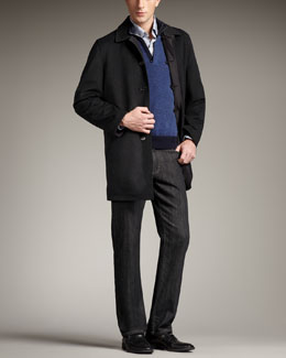 Ermenegildo Zegna Reversible Raincoat, Leather-Trim Cashmere Sweater & Black-Wash Jeans