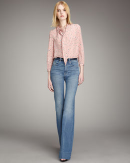MARC by Marc Jacobs Kristi Tie-Neck Top & 1970s Flared Jeans