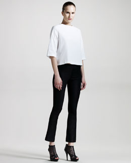 THE ROW Stretch-Cotton Top & Distressed Leather Pants