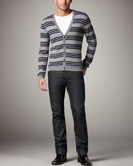 Rag & Bone Henry Striped Merino Cardigan, Basic Tee & Blue Resin Jeans