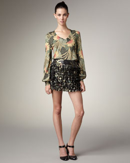 MARC by Marc Jacobs Sparkly Floral-Print Sweater & Tiered Lame Skirt