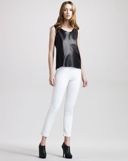 THE ROW Back-Pleat Leather Top & Stretch Leggings