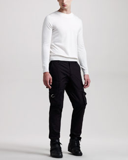 Givenchy Crewneck Sweater & Buckle-Strap Cargo Pants