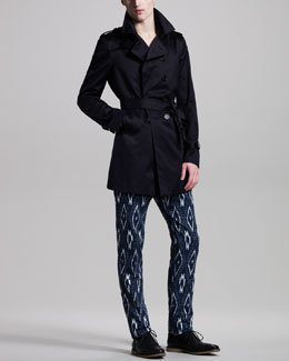 Burberry Prorsum Cotton Trenchcoat, Logo Tee & Ikat-Print Cotton-Linen Pants