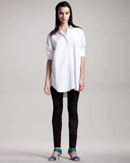 THE ROW Oversized Poplin Blouse & Stretch Suede Leggings