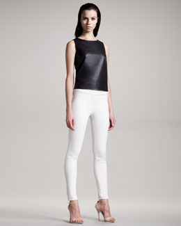 THE ROW Zip-Back Leather Top & Stretch-Denim Leggings