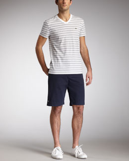Lacoste Striped V-Neck Tee & Classic Bermuda Shorts