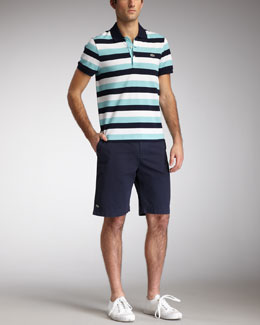 Lacoste Slim-Fit Striped Polo & Classic Bermuda Shorts
