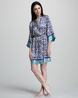 Oscar de la Renta Jewel Medallion-Print Short Robe & Gown