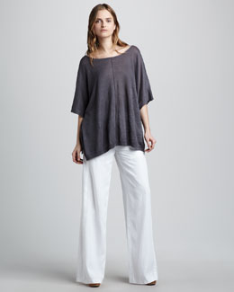 Vince Loose Linen Top & Wide-Leg Drawstring Pants