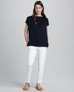 Vince Silk Boat-Neck Top & Slim Twill Pants