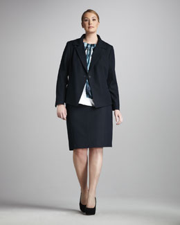 Tahari Woman Venus One-Button Jacket, Dawn Printed Blouse & Judith Skirt, Women's