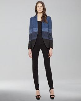 Akris punto Ombre-Striped Jacket, Leather-Trim Long-Sleeve Tee & Front-Zip Leggings