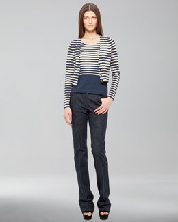 Akris punto Striped Cardigan, Shell & Five-Pocket Jeans