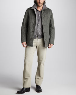 Loro Piana Lightweight Reversible Jacket, Jacquard Cardigan, Cashmere Polo Sweater & Basic-Fit Pants