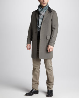 Loro Piana Novalis Cashmere-Blend Coat, Cashmere-Silk V-Neck Sweater & Slim Cotton Pants