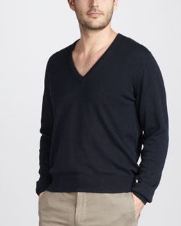 Loro Piana Cashmere-Silk V-Neck Sweater