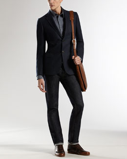 Gucci Dylan Jacket, Slim Selvedge Shirt & Five-Pocket Regular-Leg Jeans