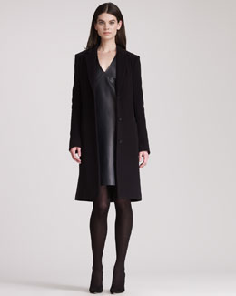 THE ROW Leather V-Neck Dress & Wool Cashmere Long Coat