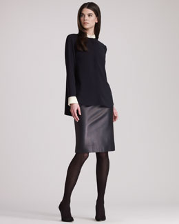 THE ROW Long-Sleeve Blouse With Colorblocked Cuffs & Leather Skirt