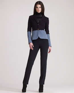 THE ROW Long-Sleeve Leather Turtleneck, Wool Colorblocked Schoolboy Jacket & Lightweight Wool Narrow Pants