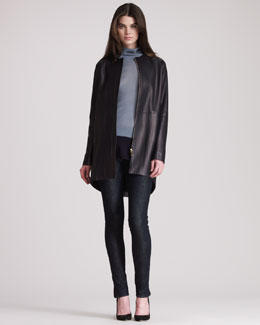 THE ROW Long Leather Cocoon Coat, Colorblocked Cotton Turtleneck & Stretch Denim Leggings