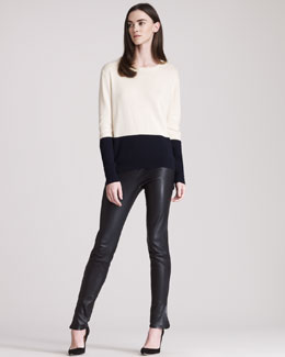 THE ROW Cashmere Colorblock Knit Sweater & Leather Leggings With Ankle Slits