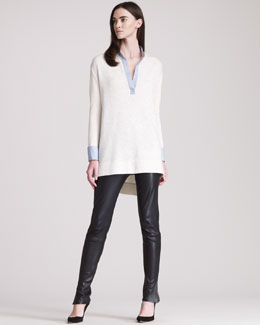 THE ROW Leather Leggings With Ankle Slit & Split-Neck Tunic