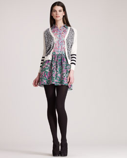 Gryphon New York Dots Cardigan & Mimi Stretch-Silk Dress