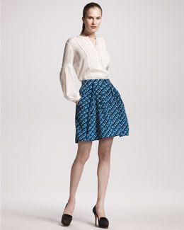 10 Crosby Derek Lam Pintuck Peasant-Sleeve Blouse & Printed Flouncy Skirt