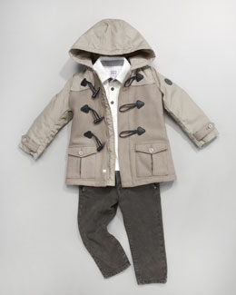 Armani Junior Nylon and Flannel Toggle Coat, Polo With Striped Sleeves & Fashion Denim Pants