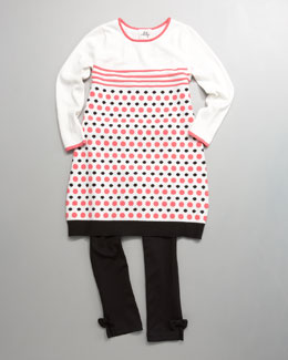 Milly Minis Porter Dotted Sweater Dress & Bow-Ankle Ponti Leggings