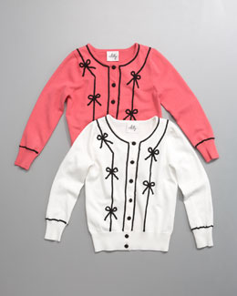 Milly Minis Ribbon-Bow Cardigan