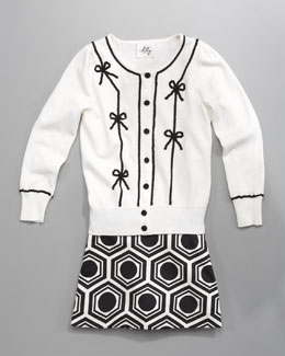 Milly Minis Ribbon-Bow Cardigan & Mackenzie Geo-Print Skirt