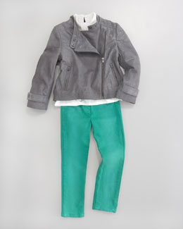 Chloe Jean Leggings, Pleat-Neck Blouse & Leather Motorcycle Jacket