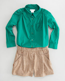 Chloe Pleat-Sleeve Blouse & Tweed Shorts
