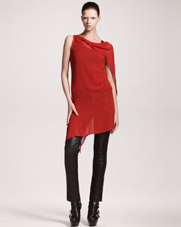 Ann Demeulemeester Georgia Asymmetric Ruffle-Back Dress, Jersey Tank & Skinny Leather Pants