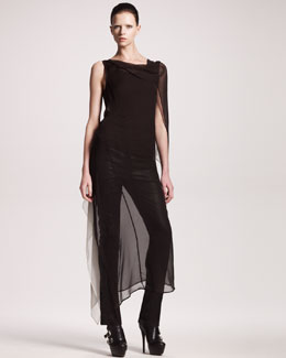 Ann Demeulemeester Long Degrade Dress, Jersey Tank & Skinny Leather Pants