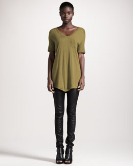 T by Alexander Wang Classic Short-Sleeve Tee & Four-Pocket Leather Leggings