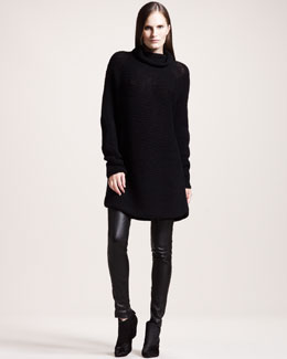 THE ROW Oversized Cashmere Turtleneck & Quilted Stretch-Leather Leggings